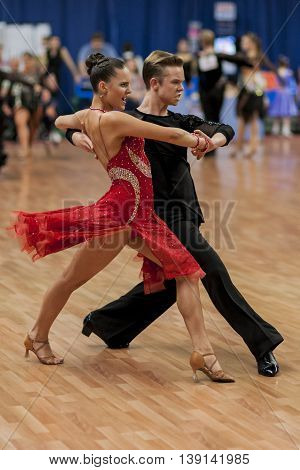 Minsk Belarus -May 29 2016: Zelenskiy Ivan and Lantuhova Anna Perform Youth-2 Latin-American Program on National Championship of the Republic of Belarus in May 29 2016 in Minsk Belarus