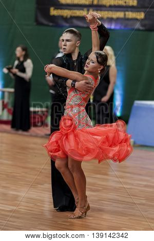 Minsk Belarus -May 29 2016: Danila Shmidt and Alina Gumenyuk Perform Juvenile-2 Latin-American Program on National Championship of the Republic of Belarus in May 29 2016 in Minsk Republic of Belarus