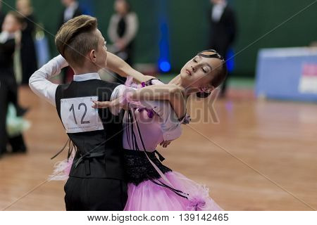 Minsk Belarus -May 29 2016: Tabolin Michail and Zhukovskaya Alina Perform Juvenile-1 Standard European Program on National Championship of the Republic of Belarus in May 29 2016 in Minsk Republic of Belarus