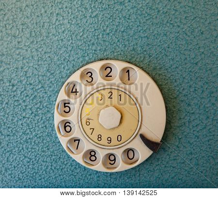 Close up of a disk of an ancient phone