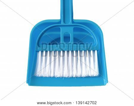 Broom and Blue Dustpan isolated on white