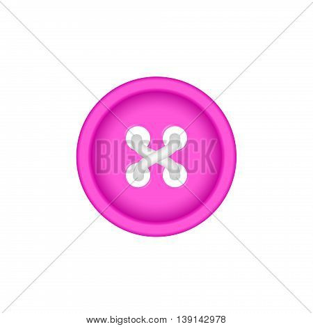 Sewing button in pink design with sewing thread