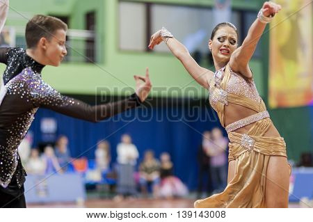 Minsk Belarus -May 29 2016: Volkov Iliya and Stasyuk Ekaterina Perform Adult Latin-American Program on National Championship of the Republic of Belarus in May 29 2016 in Minsk Belarus