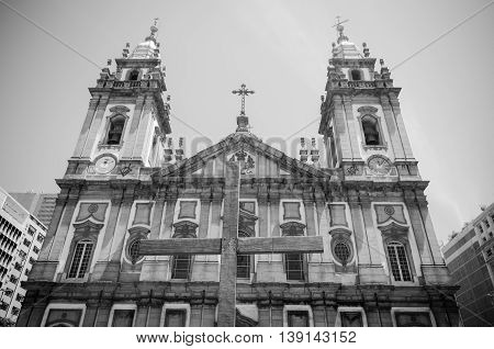 RIO DE JANEIRO BRAZIL - MARCH 06 2016: Church Nossa Senhora da Candelaria in Rio de Janeiro. Brazil