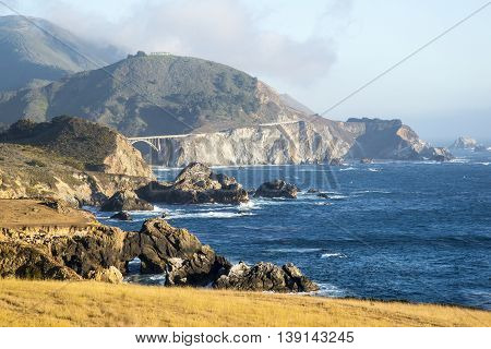 Rocky Creek Bridge in the background in the Big Sur area of Califfornia.