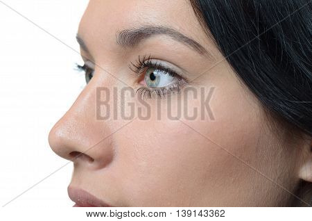 Close Up Profile View Of An Attractive Woman