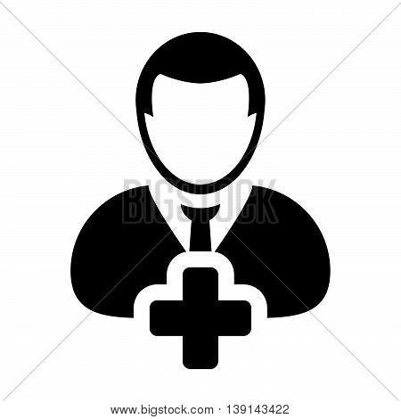Add User Icon - Man, Profile, Businessman, Avatar, Person Glyph Vector illustration