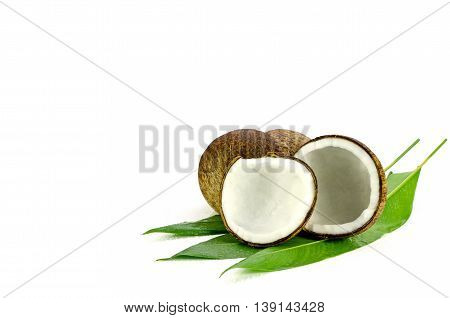 Cut Coconut Shell With Fresh Organic Coconut Kernel.
