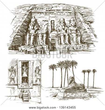 Egyptian monuments. Abu Simbel Temple of Rameses II. Hand drawn set.
