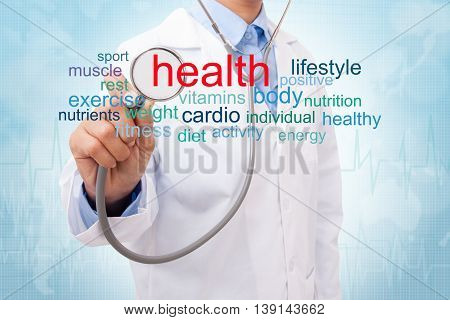Doctor with health word cloud on medical background