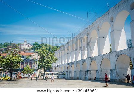 Landmark White Arches Of Arcos Da Lapa