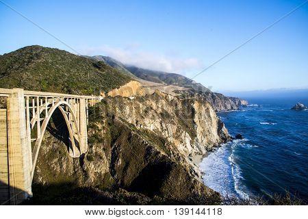 A veiw of Bixby Bridge in the Big Sur area of California.