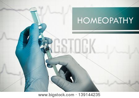 Homeopathy. Syringe is filled with injection. Syringe and vaccine