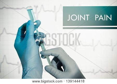 Stop joint pain. Syringe is filled with injection. Syringe and vaccine