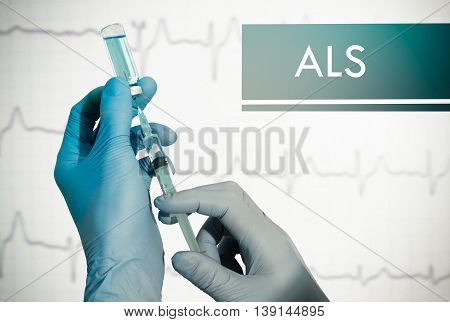 Stop ALS (amyotrophic lateral sclerosis). Syringe is filled with injection. Syringe and vaccine