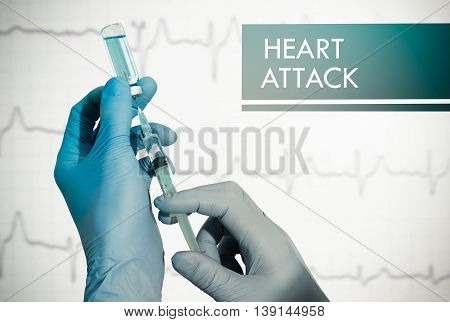 Stop heart attack. Syringe is filled with injection. Syringe and vaccine