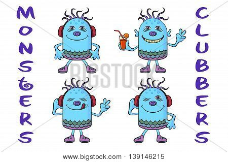Set of Cute Cartoon Monsters Clubbers, Colorful Characters in Headphones, Listening Music, Smiling and Dancing, Elements for Your Holiday Party Design, Prints and Banners, Isolated on White.