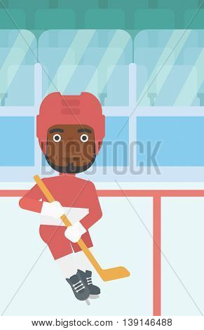 An african-american ice hockey player with the beard skating on ice rink. Ice hockey player with a stick. Sportsman playing ice hockey. Vector flat design illustration. Vertical layout.