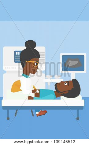 An african-american young female doctor examining internal organs of a male patient on the modern ultrasound equipment at medical office. Vector flat design illustration. Vertical layout.