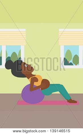 An african-american pregnant woman doing exercises with ball indoor. Young pregnant woman doing exercises lying on fitball. Vector flat design illustration. Vertical layout.