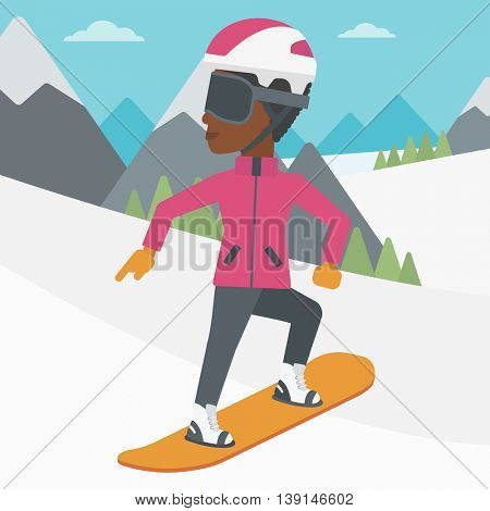 An african-american sportswoman snowboarding on the background of snow capped mountain. Woman snowboarding in the mountains. Snowboarder in action. Vector flat design illustration. Square layout.