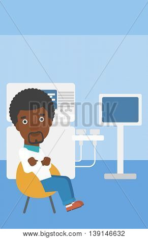 An african-american male ultrasound doctor sitting with arms crossed near modern ultrasound equipment at medical office. Vector flat design illustration. Vertical layout.