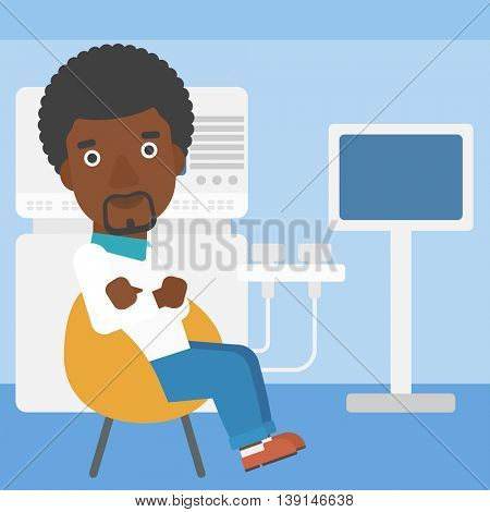 An african-american male ultrasound doctor sitting with arms crossed near modern ultrasound equipment at medical office. Vector flat design illustration. Square layout.