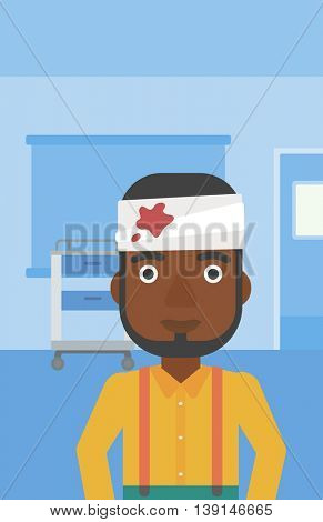 An african-american man with bandages over his head in the medical office. Vector flat design illustration. Vertical layout.