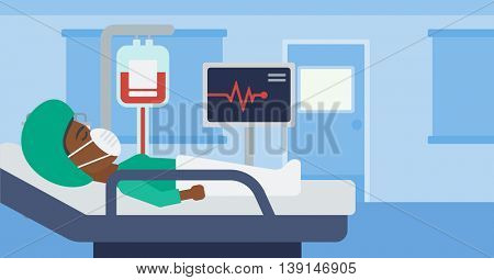 An african-american woman in oxygen mask lying in hospital ward with heart rate monitor and equipment for blood transfusion. Vector flat design illustration. Horizontal layout.