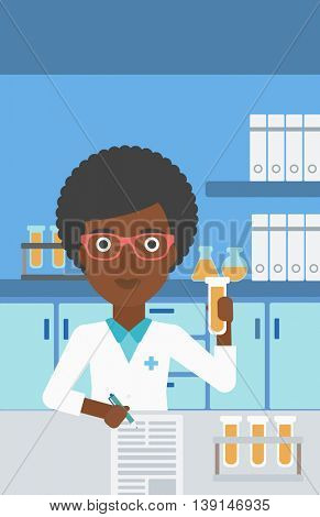 An african-american female laboratory assistant taking some notes and working with a test tube at the lab. Vector flat design illustration. Vertical layout.