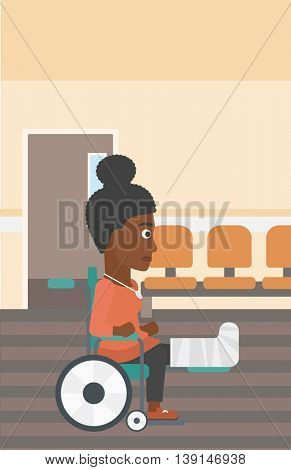 An african-american young injured woman with broken leg in plaster sitting in wheelchair in the hospital corridor. Vector flat design illustration. Vertical layout.