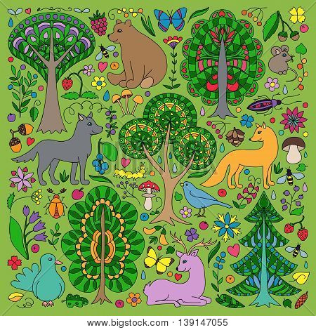 Pattern of colorful doodle forest animals and plants. Vector illustration of childish woodland