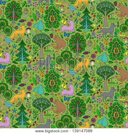 Seamless pattern of colorful doodle forest animals and plants. Vector illustration of childish woodland