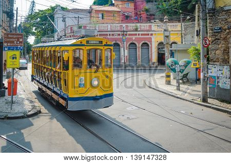 Iconic Bonde Tram Through The Hillside Neighborhood Of Santa Teresa.