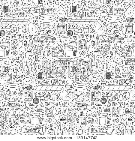 Adult Party hand drawn Seamless Pattern. Vector illustration of doodle holiday wallpaper