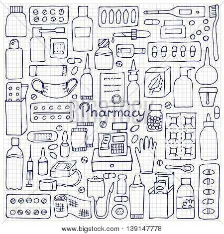 Pharmacy hand drawn elements. Medicament doodle set on squared paper