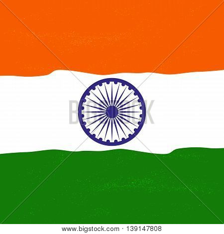 India republic independence. National holiday. Independence day celebration concept. Colors of Indian tricolor flag. Ashoka Chakra. Unique symbols. Patriotic event background. Vector illustration