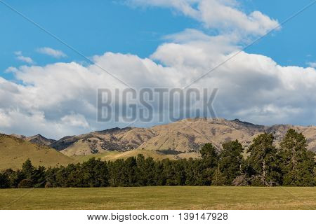 rolling hills in New Zealand with sky and clouds