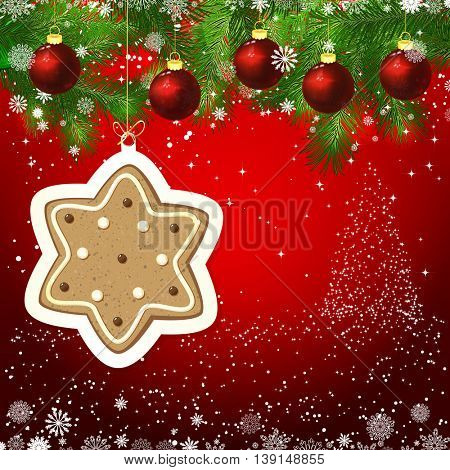 Ginger star New Year design background. Template card whit red Christmas balls on the green branches. Silhouette of a Christmas tree made of stars. Falling snow.  Holiday illustration.