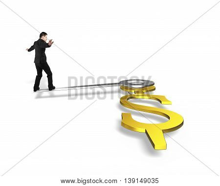 Businessman Walk On Clock Hands In Usd Dollar Sign Isolated In White, 3D Rendering