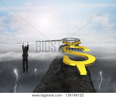 Businessman Grab Usd Clock Hands On Mountain Peak With Dramatic Weather, 3D Rendering