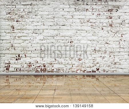 Stripped Bricks Wall With Clean Reflactive Wooden Floor Indoor