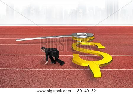 Businessman Race Against Time Concept, Clock Hands In Dollar Shape On Red Track, 3D Rendering