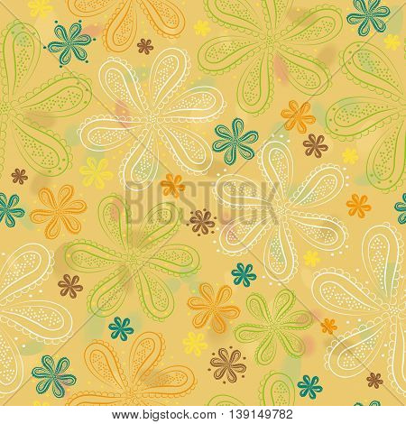 White green brown and orange flowers with watercolor background. illustration. Yellow floral seamless pattern.