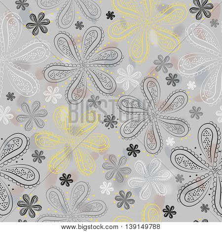 Gray and yellow flowers with watercolor background. illustration. Gray floral seamless pattern.