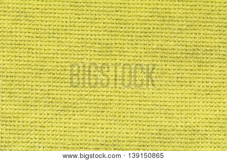 Yellow polyester fabric texture background, close up
