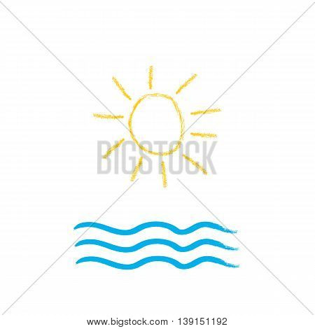 Sun and sea brush stroke vector illustration