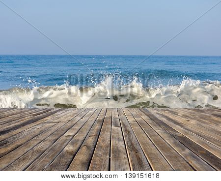 Seascape With Running Waves. The View From The Wooden Pier