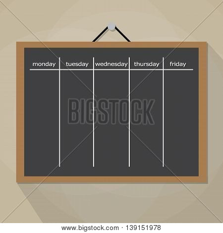 Scrum task board hanging on wall. Development, team work, agenda, to do list. vector illustration in flat style on brow background with long shadow