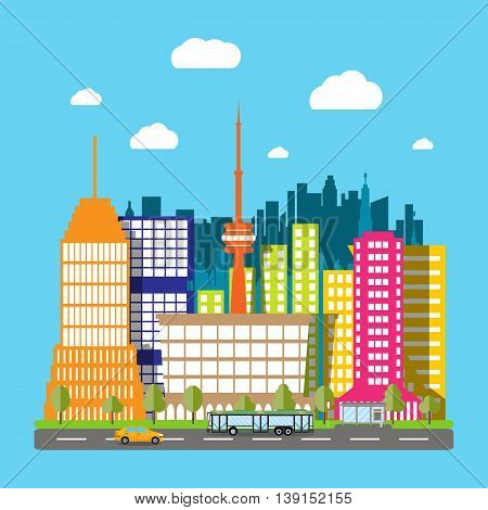 Modern City View. Cityscape with office and residental buildings, television tower, trees, road with bus and car, blue background with clouds. vector illustration in flat style